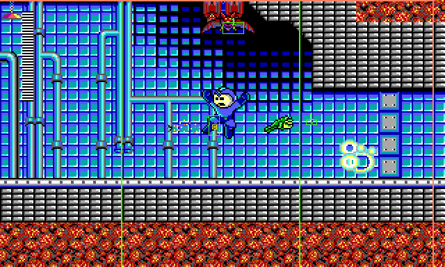 A screenshot of the game with the HUD script activated. Mega Man is in the first room of Sonic Man's stage, jumping to the left after having destroyed the first of two walls. A Frogbot jumps rightward into the wall's explosion.
