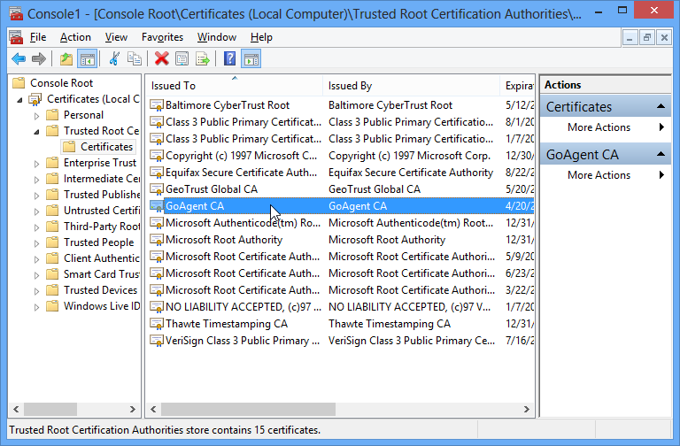"A screenshot of the Windows Trusted Root Certification Authorities store with ""GoAgent CA"" selected"